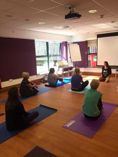 The Yoga session was pitched well for all levels, floor based and chair based.